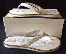 """Coach """"Dixie"""" White Signature Leather Thong Sandals/ Flip Flops Sz. 7.0"""