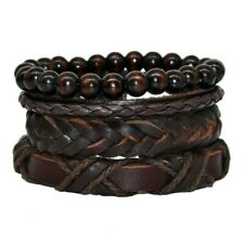 Lederarmband 4 X Herren Armband In braun mit Holzperlenkette