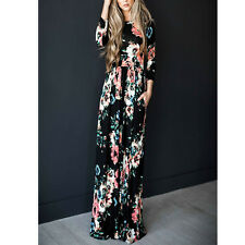 Women Floral Print Long Sleeve Beach Dress Lady Evening Party Long Maxi Dress US