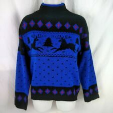 VTG Gitano Knits Christmas Sweater Medium 80s Holiday Sweater Reindeer Trees