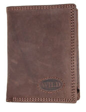 Men's small pocket size natural genuine leather wallet Wild. Worldwide Delivery.