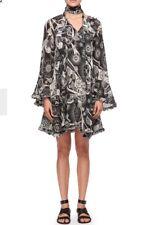 Chloe Dress Black And White Dotty Print Full Sleeve Ruffle Trim Size 36  NWT