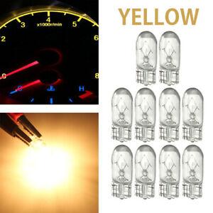 10x T10 501 W5W Wedge Side Light Dashboard Dash Yellow Instrument Panel Bulbs