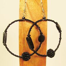 "2"" Black Mixed Bead Handmade Seed Bead Hoop Hook Earrings FREE SHIPPING!!"