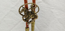 Vintage Western Cowboy ROPE Brass Horse Pendant Rodeo Bolo Ties Mens Accessories