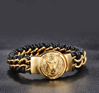 Mens Stainless Steel Gold Wolf Black Woven Leather Bangle Bracelet + Box #B366
