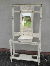 Victorian painted carved Oak bevel mirror hall stand with brass hooks