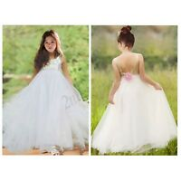 Communion Party Prom Princess Flower Girl Dress Pageant Bridesmaid Wedding Gown