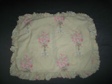 Simply Shabby Chic Blush Beauty Standard Pillow Sham Ruffle Green Floral Cottage