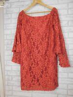 Jayson Brunsdon Black label Off shoulder dress Coral Sz 14 lace Flared sleeves