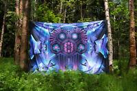 Psychedelic Tapestry Art Visionary UV Fluorescent Glow Psytrip Psyart Backdrop