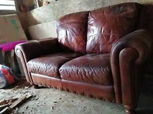 2-seater Leather Club Sofa Chesterfield, Cigar Brown