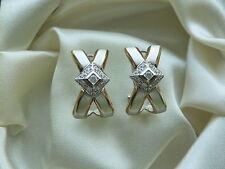14K WHITE & YELLOW GOLD  DIAMOND EARRINGS OMEGA BACK