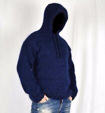 Hand Knit WOOL Mohair Pullover Men Sweater HOOD * SOFT fuzzy Jumper XL