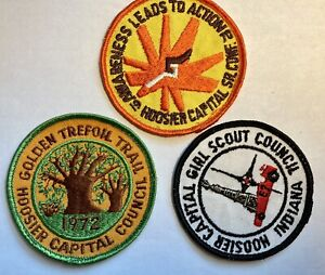 Vintage Girl Scout Patch Lot Of 3 1970's Hoosier Indiana GSA