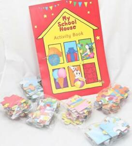 My School House Activity Book PLUS 6 Early Learning Puzzles ABC 123 animals food