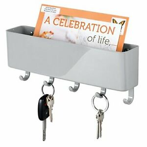 Mail Holder and Key Rack Letter Organizer Wall Mount Entryway Hook Storage White