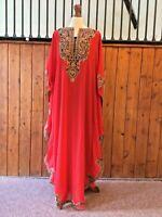 Moroccan Dubai abaya Safira kaftan red gold lace maxi dress Eid