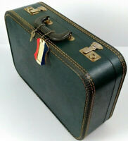 Vintage American Tourister Blue Tweed Lady Train Suitcase with Tag and Key 1940s