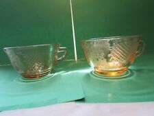 Pink Normandie Depression Glass Tea Cup Bouquet & Lattice Teacups Federal 2 CUPS