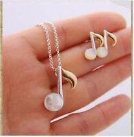 Mignon blanc opale note musicale ensemble boucles d'oreilles et collier