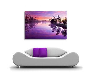 LARGE PURPLE SUNSET CANVAS WALL ART SUN LIGHT LOUNGE BEDROOM HALL PICTURE PRINT
