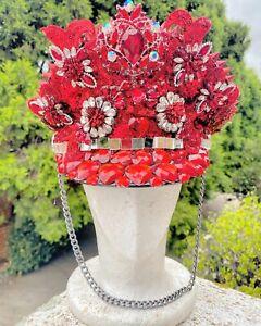 Party Festival Hat / Captain Rave Burning Man Red Sequin Cap Headpiece