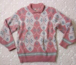 Vtg 80s 90s Women Small Pastel Pull Over Sweater Pink Fairy Kei Cottagecore