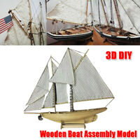 NEW Wooden Ship Model Kit 1:87 Scale Classics Sail Boat DIY Toys Christmas Gift