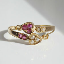 Antique Edwardian Romantic 18ct Gold 'Two Hearts' Ruby & Pearl set Ring c1905