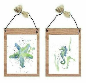 Ocean Sea Life Pictures Star Fish Seahorse Blue Green Wall Hanging Decor Plaques