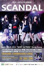"SCANDAL ""BABY ACTION"" HONG KONG ASIA TOUR 2011 CONCERT POSTER- Garage Rock Music"
