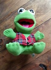 """1987 Baby Kermit The Frog Plush Toy In Plaid Vest Approximately 8"""" Stuffed"""
