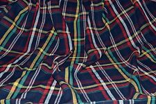 Madras Plaid Yarn Dyed 100% Cotton Navy Ground Fabric by the Yard