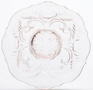 Dessert Plate - Inverted Thistle - Rose Pink Glass - Mosser USA