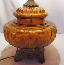 Vtg Mid-Century Amber Crackle Table Lamp Carl Falkenstein ?