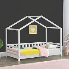 [en.casa] Kinderbett 80x160cm Haus Holz Weiß Bettenhaus Hausbett Kinder Bett