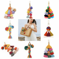 Colorful Pompom Keychain Long Tassel Key Ring Ball Pendant Bohemian Key Chain