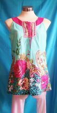 SophyLine Paris.size large,blue paisley top,pink embroidery,floral/paisley cotto