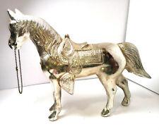 "Rare Vintage Cast Metal DETAILED HORSE SADDLE Statue Reins Stirrups 9"" by 11"""