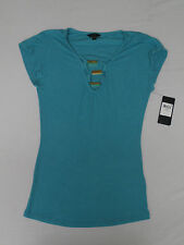 Guess Women's Cap-Sleeve Lace-Up Top Sultry Sea Size Medium NWT