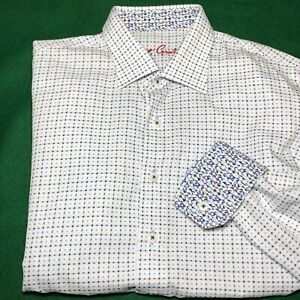 Robert Graham Shirt Boys Youth Large 14-16 Flip Cuff Geometric White Blue Button