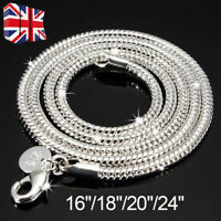 """3MM 925 SOLID STERLING SILVER SNAKE CHAIN NECKLACE ALL INCH SIZES 16""""/18""""/20"""""""