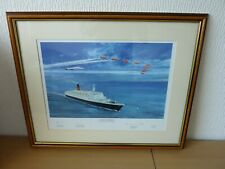 Limited Edition QE2 Concorde Red Arrows Framed Print signed by artist + Pilots
