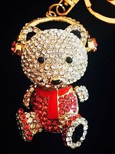 Keychain Austrian Crystal Charming Christmas Gift Cute Red Bear Princess BAG