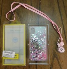 NEW iPhone X Case Waterfall Floating Shake Glitter Hearts Liquid Quicksand Pink