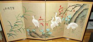 LARGE CHINESE CRANE BIRDS ORIGINAL WATERCOLOR 4 PANEL SCREEN PAINTING