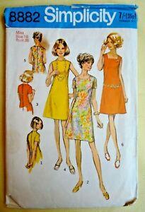 "Vintage 1960s Simplicity Sewing Pattern. Ladies Dress. 3 Necklines. 38"" Bust."
