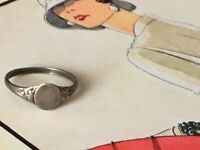 """Antique Art Deco C.30s SIGNET Ring marked """"silver"""" Size C"""