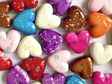 25 MARBLE EFFECT ASSORTED COLOUR PLASTIC HEART CHARM PENDANTS 22mm CHP0162